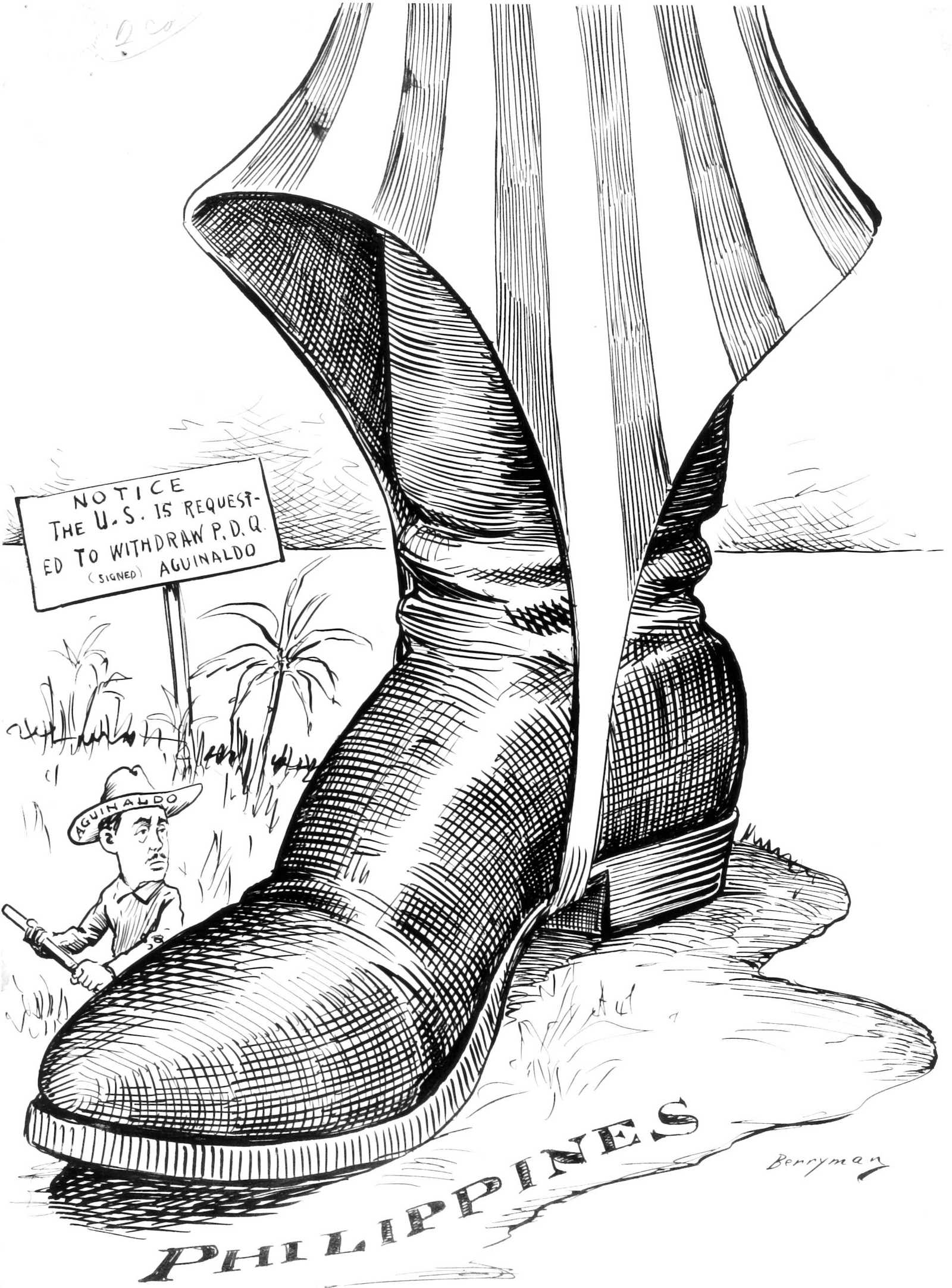 Political cartoon depicting Uncle Sam's boot stomping on the Philippines