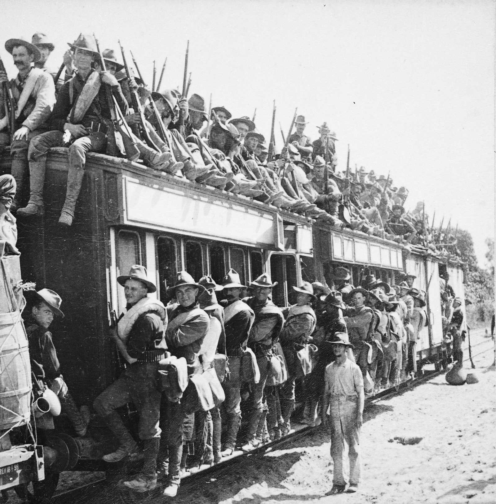 U.S. troops crowd a train