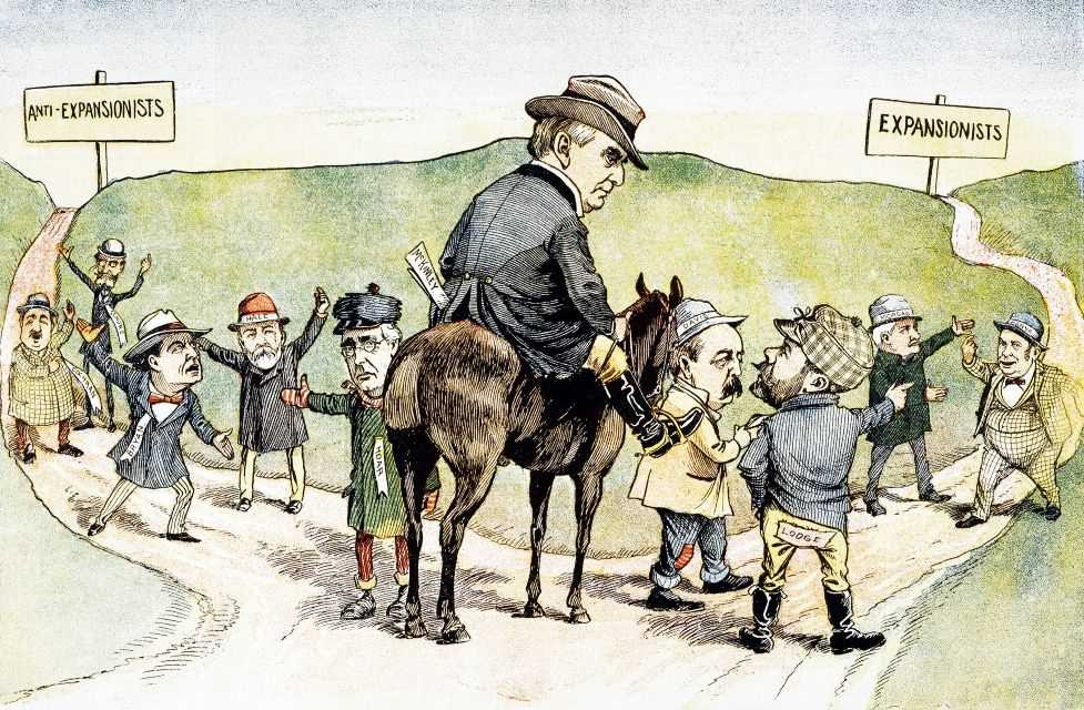 Political cartoon of William McKinley on a horse being led towards a path labeled