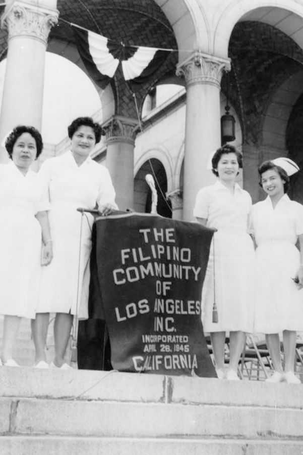 Dolores Ramolete with fellow nurses at an event held at City Hall.