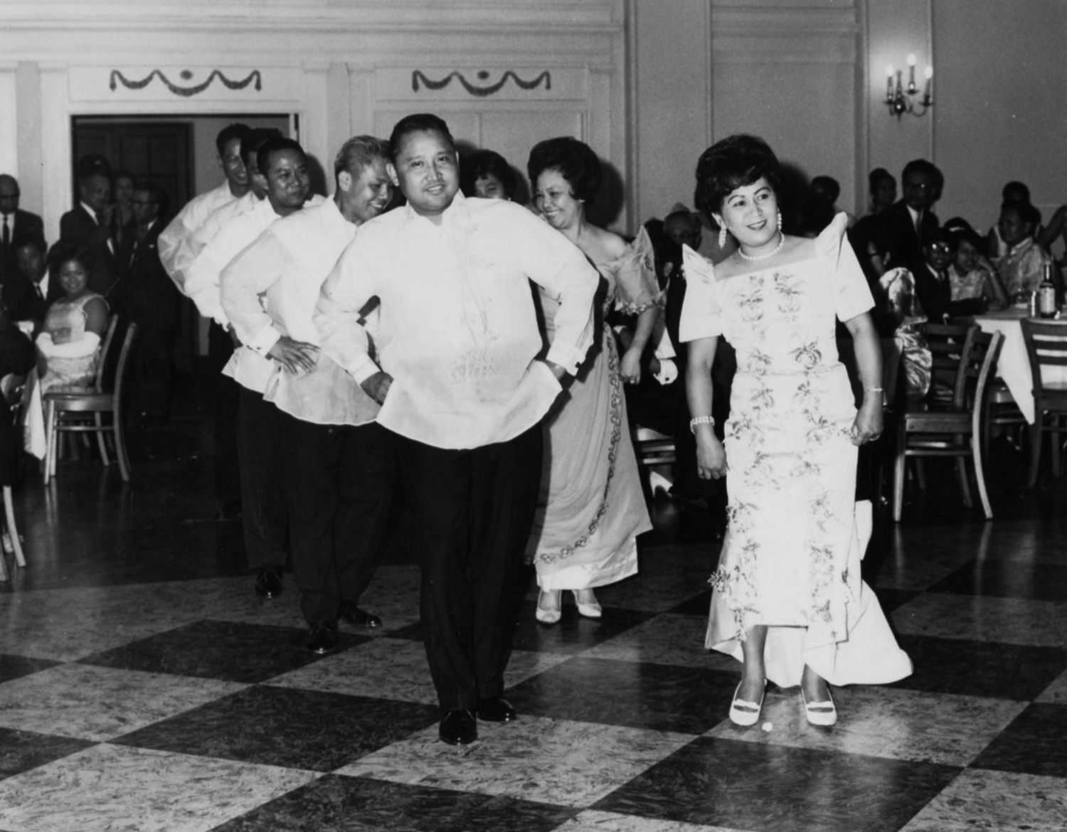 Couples dancing in traditional Filipino dress in Washington, D.C.