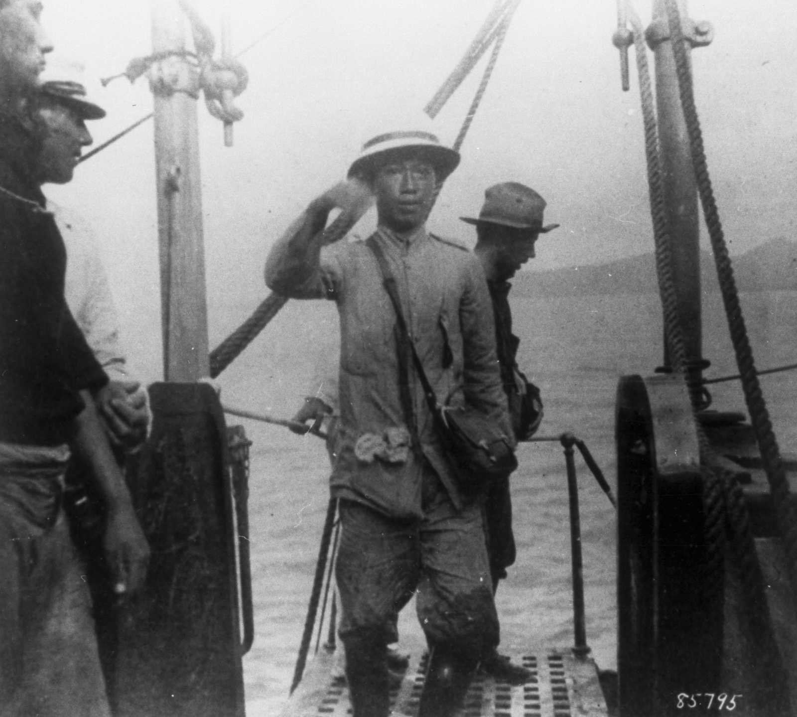 Black and white photo of Emilio Aguinaldo aboard a ship
