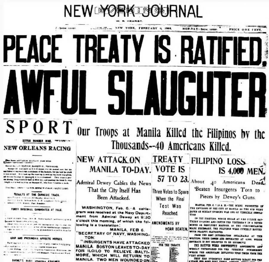 Newspaper scan with headline reading PEACE TREATY IS RATIFIED; AWFUL SLAUGHTER
