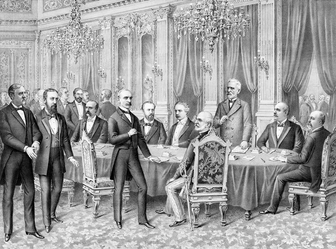 Black and white artwork depicting several men in suits deliberating in an ornate room