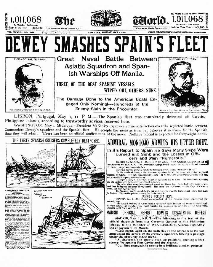 Newspaper scan with the headline reading DEWEY SMASHES SPAIN'S FLEET