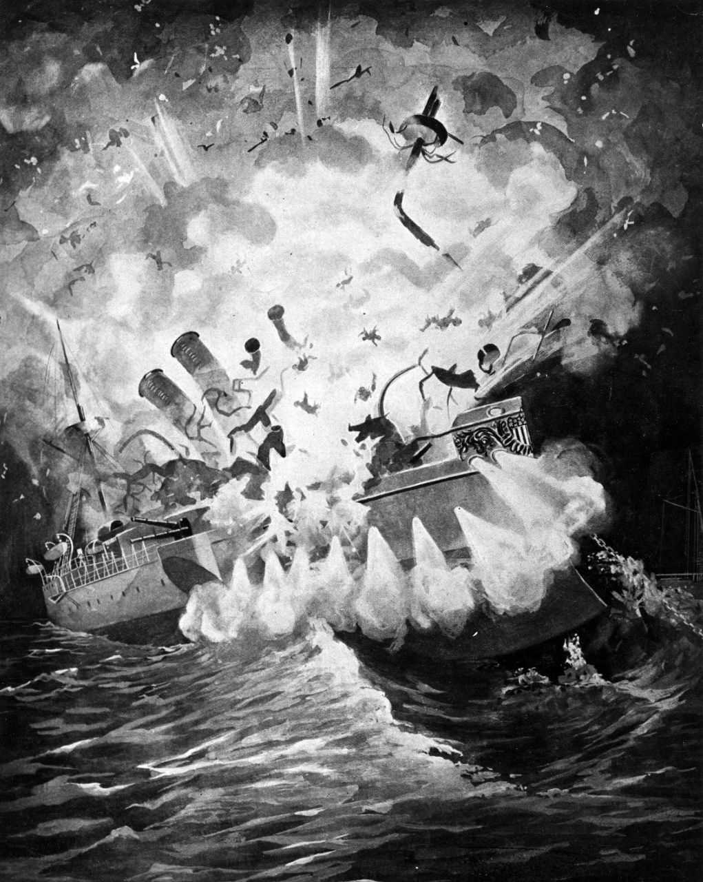 Painting in black and white depicting a ship exploding in the water