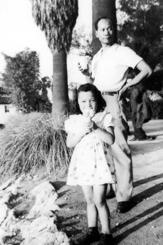young girl and father